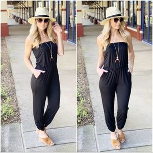 Infinity Raine Pants - Black Strapless Jumper with Pockets